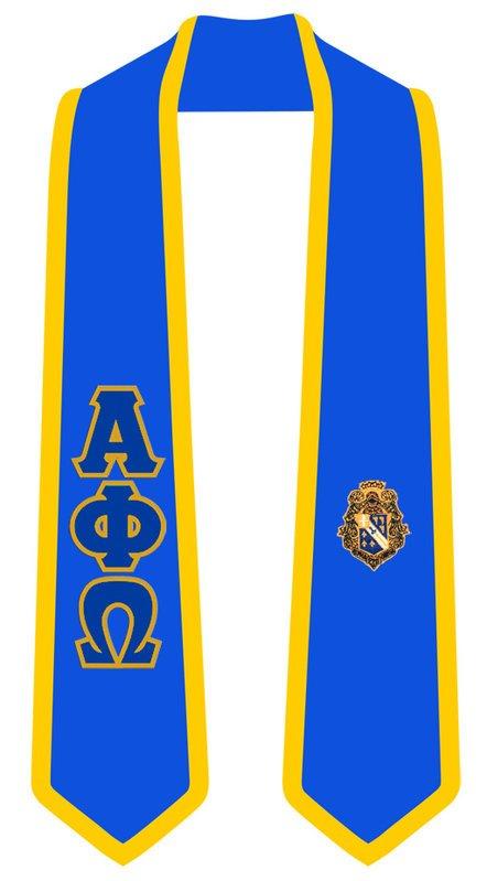 Alpha Phi Omega Greek 2 Tone Lettered Graduation Sash Stole