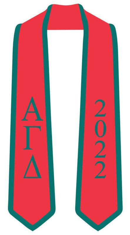 DISCOUNT-Alpha Gamma Delta Greek 2 Tone Lettered Graduation Sash Stole w/ Year