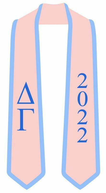 DISCOUNT-Greek 2 Tone Lettered Graduation Sash Stole w/ Year