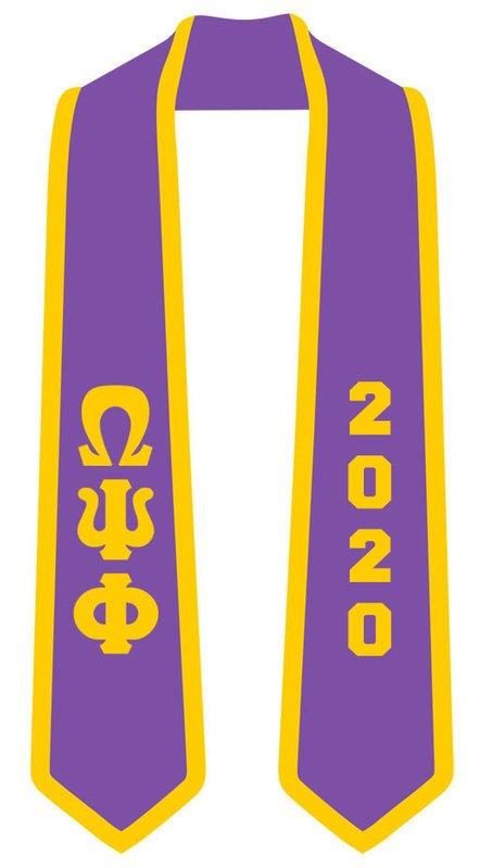 DISCOUNT-Omega Psi Phi Greek 2 Tone Lettered Graduation Sash Stole w/ Year