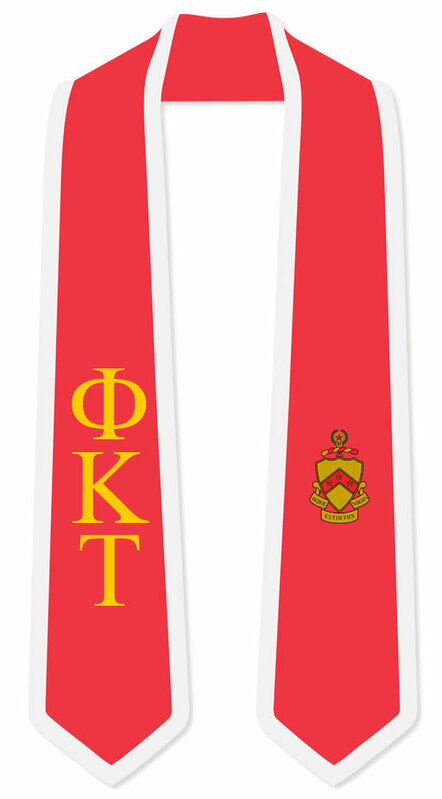DISCOUNT-Phi Kappa Tau Greek 2 Tone Lettered Graduation Sash Stole