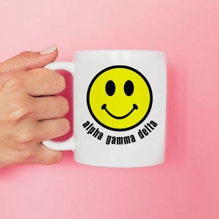 Alpha Gamma Delta Smiley Face Coffee Mug - Personalized!