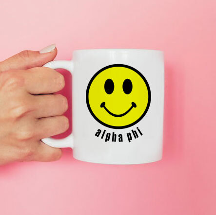 Alpha Phi Smiley Face Coffee Mug - Personalized!