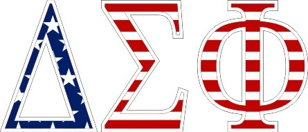 "Delta Sigma Phi American Flag Greek Letter Sticker - 2.5"" Tall"