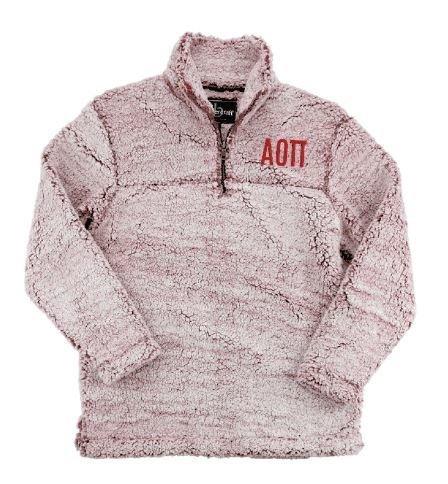 Alpha Omicron Pi Sherpa Quarter Zip Pullover