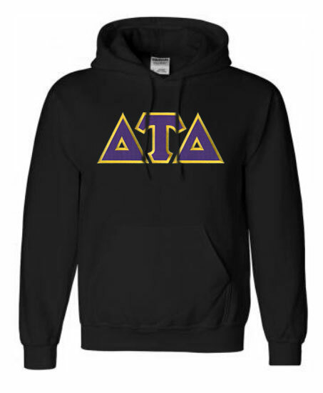 DISCOUNT Delta Tau Delta Lettered Hooded Sweatshirt