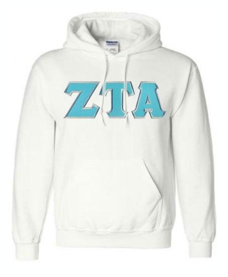 DISCOUNT Zeta Tau Alpha Lettered Hooded Sweatshirt