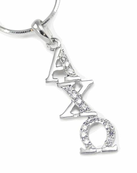 Alpha Chi Omega Sterling Silver Diagonal Lavaliere set with Lab-Created Diamonds