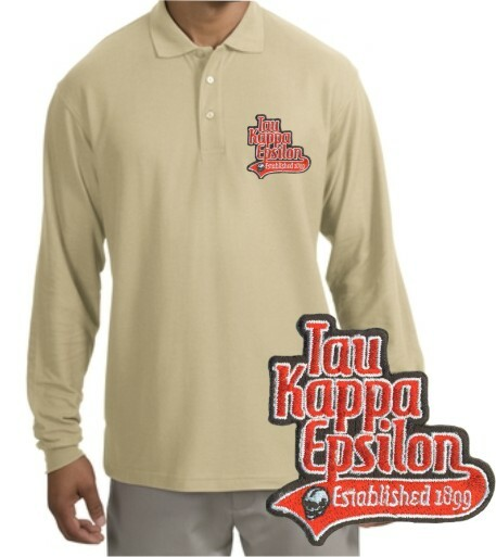 DISCOUNT-Fraternity Tail Emblem Long Sleeve Polo