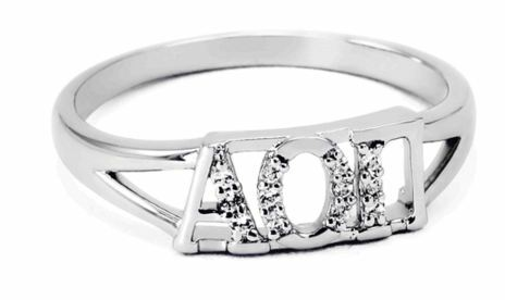 Alpha Omicron Pi Sterling Silver Ring set with Lab-Created Diamonds