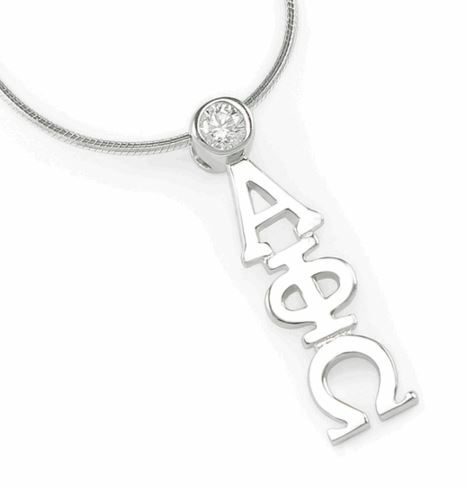 Alpha Phi Omega Sterling Silver Lavaliere Pendant with Swarovski Clear Crystal