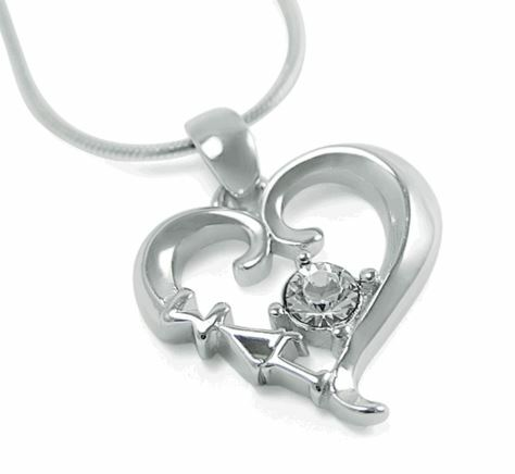 Sigma Lambda Gamma Sterling Silver Heart Pendant with Swarovski Clear Crystal