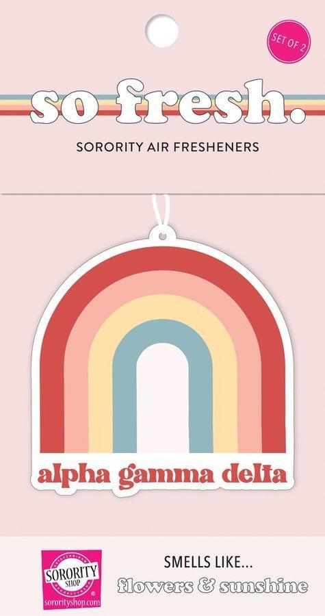 Alpha Gamma Delta Rainbow Retro Air Freshener - Flowers & Sunshine Scent