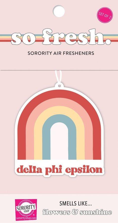 Delta Phi Epsilon Rainbow Retro Air Freshener - Flowers & Sunshine Scent