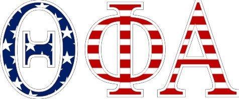 "Theta Phi Alpha American Flag Greek Letter Sticker - 2.5"" Tall"