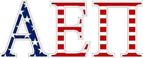 "Alpha Epsilon Pi American Flag Greek Letter Sticker - 2.5"" Tall"