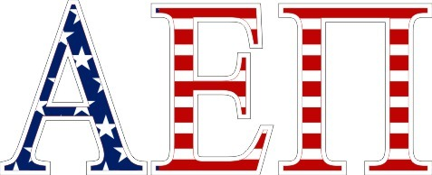 "Alpha Epsilon Pi American Flag Greek Letter Sticker - 2.5"" Tall"