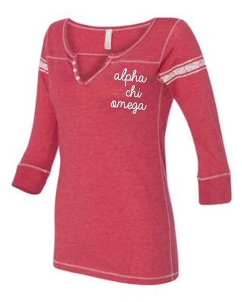 Sorority Hailey Henley Three-Quarter Sleeve Shirt