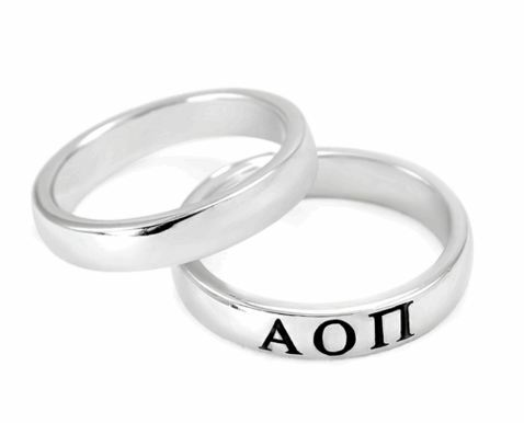 Alpha Omicron Pi Sterling Silver Skinny Band Ring
