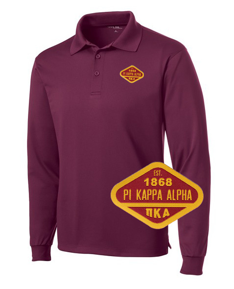 DISCOUNT-Pi Kappa Alpha Woven Emblem Greek Long Sleeve Dry Fit Polo
