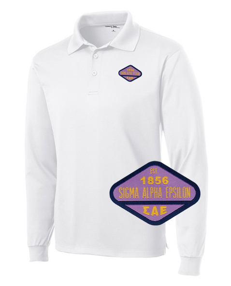 DISCOUNT-Sigma Alpha Epsilon Woven Emblem Greek Long Sleeve Dry Fit Polo