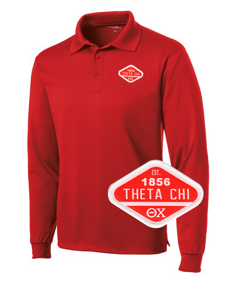 DISCOUNT-Theta Chi Woven Emblem Greek Long Sleeve Dry Fit Polo