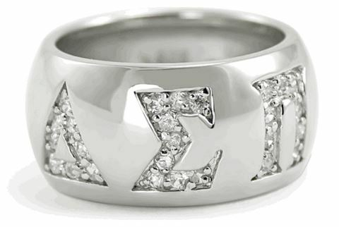 Delta Sigma Pi Sterling Silver Ring with Pave Cubic Zirconia Greek Letters