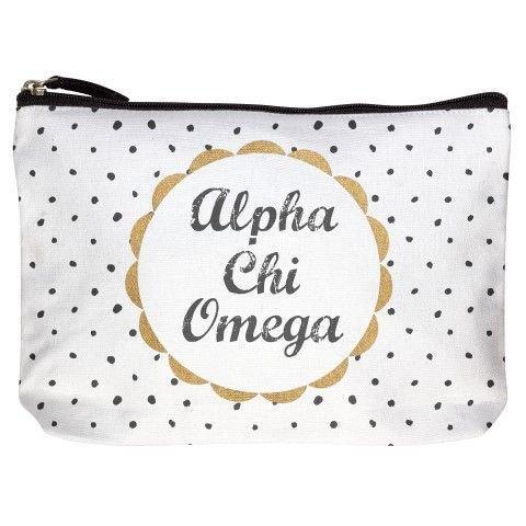 Alpha Chi Omega Cotton Canvas Makeup Bags