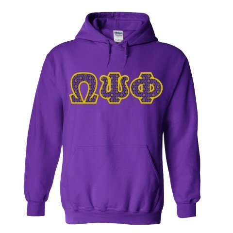 Omega Psi Phi Fraternity Crest - Shield Twill Letter Hooded Sweatshirt