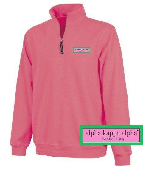 DISCOUNT-Alpha Kappa Alpha Preppy Patch 1/4 Zip Sweatshirt