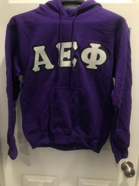 New Super Savings - Alpha Epsilon Phi Custom Lettered Hooded Sweatshirt - PURPLE