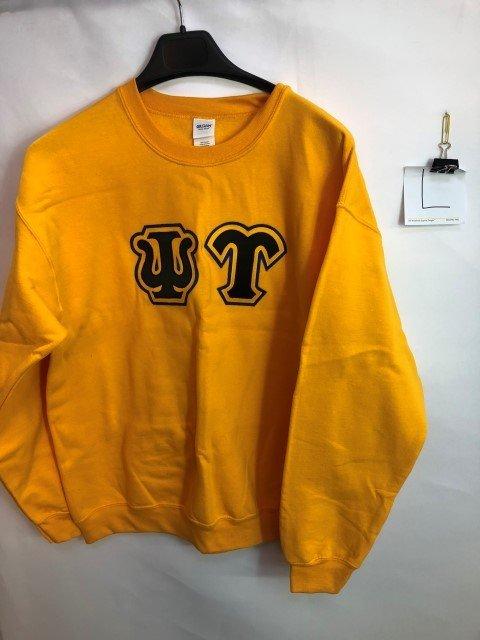 Super Savings - 3 Color Twill Psi Upsilon Custom Twill Crewneck Sweatshirt - GOLD