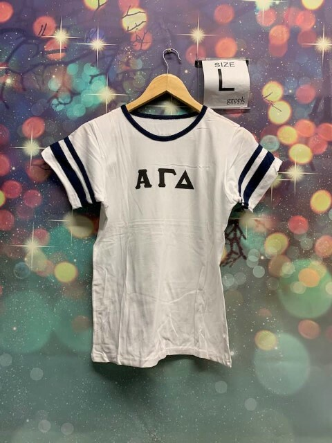 The New Super Savings - Alpha Gamma Delta Jersey Tee - WHITE 1 of 2