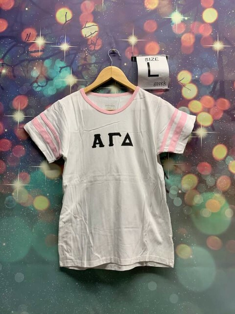 The New Super Savings - Alpha Gamma Delta Jersey Tee with pink details - WHITE