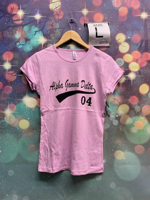 The New Super Savings - Alpha Gamma Delta Tail T-Shirt - LIGHT PINK