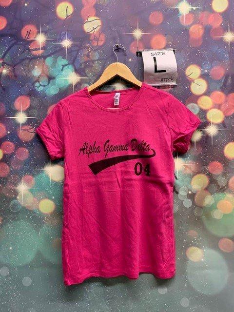 The New Super Savings - Alpha Gamma Delta Tail T-Shirt - PINK