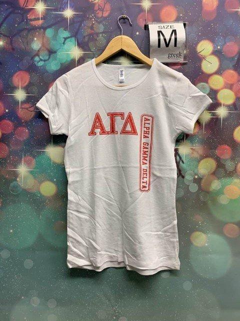 The New Super Savings - Alpha Gamma Delta Tee - WHITE