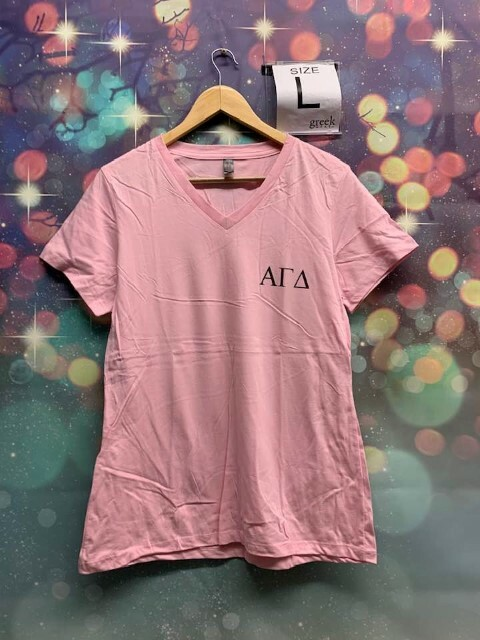 The New Super Savings - Alpha Gamma Delta V-Neck - PINK