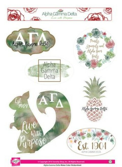 Alpha Gamma Delta Water Color Stickers