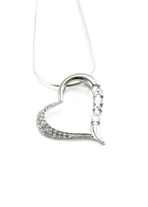 Alpha Chi Omega Sterling Silver Heart Pendant set with Lab-created Diamonds