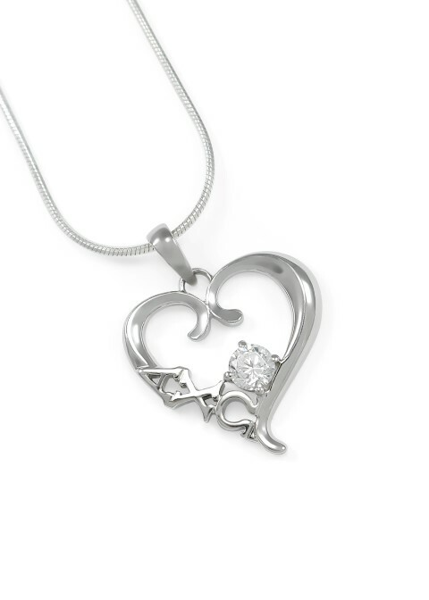 Alpha Chi Omega Sterling Silver Heart Pendant with Swarovski Clear Crystal
