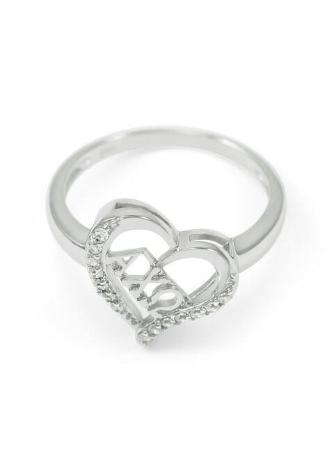 Alpha Chi Omega Sterling Silver Heart Ring set with Lab-Created Diamonds