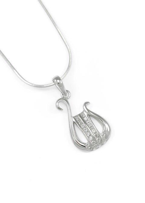 Alpha Chi Omega sterling silver lyre pendant set w/ lab-created diamonds