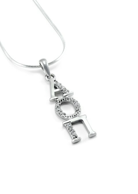 Alpha Omicron Pi Sterling Silver Lavaliere set with Lab-Created Diamonds