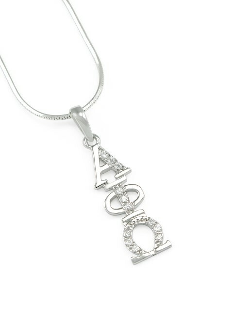 Alpha Phi Omega Sterling Silver Lavaliere set with Lab-created Diamonds