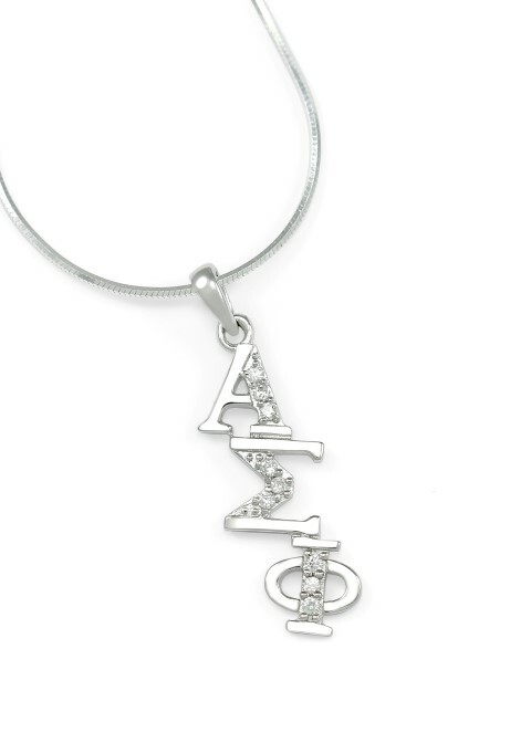 Alpha Sigma Phi Sterling Silver Diagonal Lavaliere set with Lab-created Diamonds