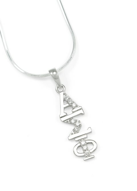 Alpha Sigma Phi Sterling Silver Lavaliere set with Lab-created Diamonds