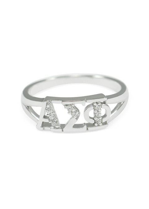 Alpha Sigma Phi Sterling Silver Ring set with Lab-Created Diamonds