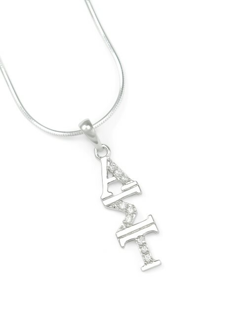 Alpha Sigma Tau Sterling Silver Lavaliere set with Lab-Created Diamonds