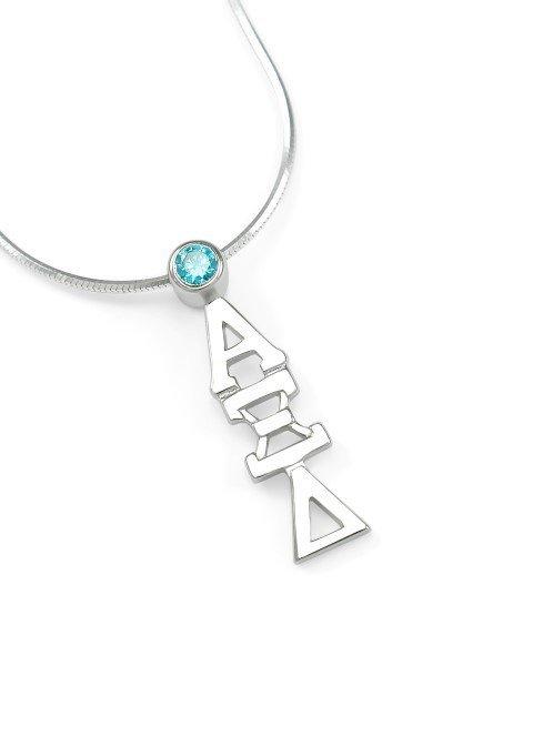 Alpha Xi Delta Sterling Silver Lavaliere Pendant with Swarovski™ Light Blue Crystal